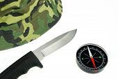 Military Cap, Knife And Compass Isolated