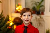 Little Boy Excited At Christmas