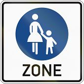 stock photo of mother law  - German sign at a pedestrian zone depicting mother and child - JPG