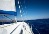 stock photo of sailing vessels  - Sailing vessel moving in the sea - JPG