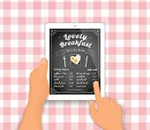 Breakfast menu on the tablet pc