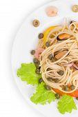 Tasty italian pasta with seafood