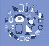 phone, communication icons, signs, illustrations set, vector