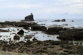 pic of luzon  - Christian Chapel on Rock Island in the ocean near Vigan on Luzon Island in the Philippines - JPG
