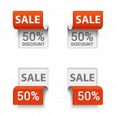Vector set of signs saying SALE in different orientations.