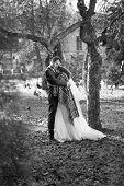 Monochrome Photo Of Happy Bride And Groom Hugging Under Tree