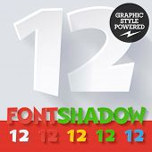 Modern funny flat alphabet with long ambient shadow. Optional colors. Numbers 1 2