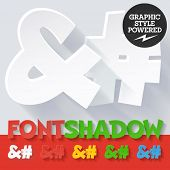 Modern funny flat alphabet with long ambient shadow. Optional colors. Symbols 2