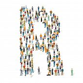 People crowd. Vector ABC, letter R