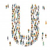 People crowd. Vector ABC, letter U