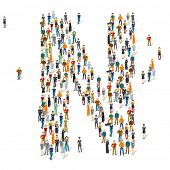 People crowd. Vector ABC, letter N