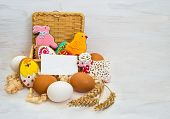 Easter Cookie Chicken, Bunny, Little Ram In A Basket And Chicken Egg
