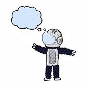 cartoon astronaut reaching with thought bubble