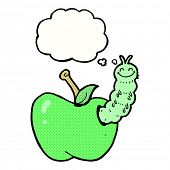 cartoon bug eating apple with thought bubble