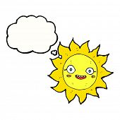 cartoon happy sun with thought bubble