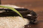image of vanilla  - vanilla sugar and vanilla beans on wooden table - JPG