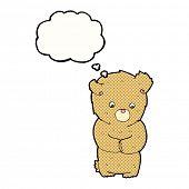 cartoon shy teddy bear with thought bubble