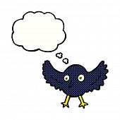 cartoon crow with thought bubble