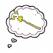 cartoon magic wand with thought bubble