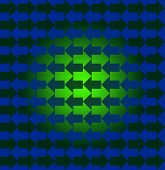 Green and blue arrows pointing opposite directions, with a gradient making the pattern look three dimensional in the center
