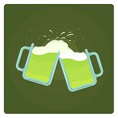 Vector illustration of two beer mugs splashing over green background, St. Patrick??s Day