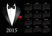 Vector American calendar 2015 with elegant suit, starting from Sundays
