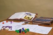 Role Playing Game Set Up On Table On Beige Background