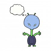 cartoon space alien with thought bubble