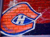 Street art Montreal Canadiens logo