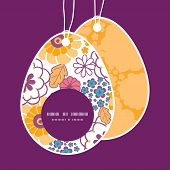 Vector colorful oriental flowers Easter egg shaped tags set template