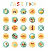 fast food colorful flat design icons set.