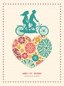 Vector abstract decorative circles couple on tandem bicycle heart silhouette frame pattern greeting