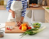 pic of cut  - Young woman cutting vegetables in kitchen - JPG