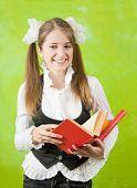 Schoolgirl Reading Red Book