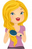 Illustration of a Girl Brushing Her Long Blonde Hair