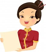 Illustration of a Female Chinese Restaurant Employee Holding a Menu