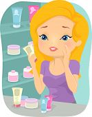 Illustration of a Girl Confused Over Which Facial Product to Choose