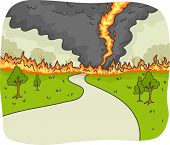 Illustration of a Tornado Fire Ravaging a Country Road