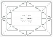 Vintage set - design elements - frame, thin line ( variable line width )