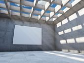 Large concrete hall with empty billboard. 3D render.