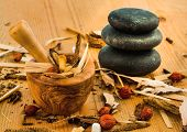 picture of naturopathy  - ingredients for a cup of tea in traditional chinese medicine - JPG