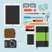 Flat design style modern vector illustration of every day  accessories, things, tools, devices