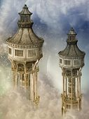 foto of fantasy  - Fantasy landscape in the sky with towers - JPG