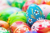 Handmade Easter eggs collection. Floral, colorful spring patterns and designs. Traditional, artistic and unique.