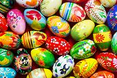 Handmade Easter eggs collection background. Floral, colorful spring patterns and designs. Traditional, artistic and unique.