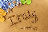 Italy Beach Writing