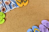 Beach Background With Flip Flops