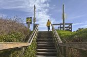 Pedestrian Stairway To The Beach.