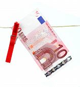 10 Euro Bank Note Hanging On Clothesline
