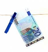 20 Euro Bank Note Hanging On Clothesline